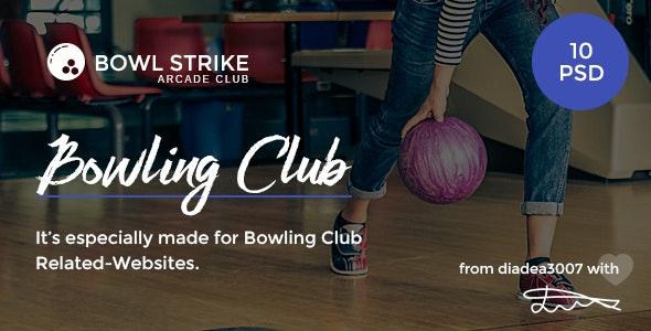 Bowl Strike - Bowling Arcade Club PSD Template - Entertainment PSD Templates
