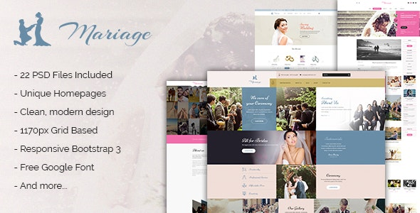 Mariage - Business & Wedding PSD Template - Business Corporate
