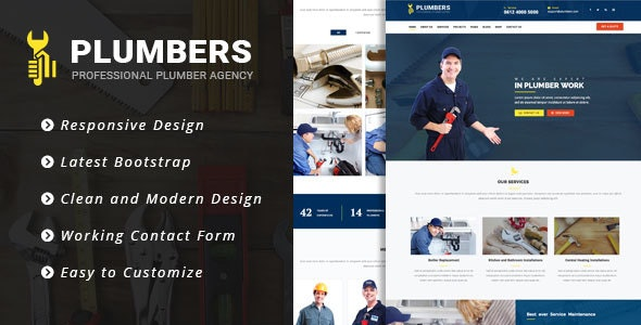 Plumbers - Plumbing, Repair & Construction Responsive Template - Business Corporate