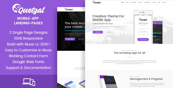 Quetzal - Muse App Landing Pages - Landing Muse Templates