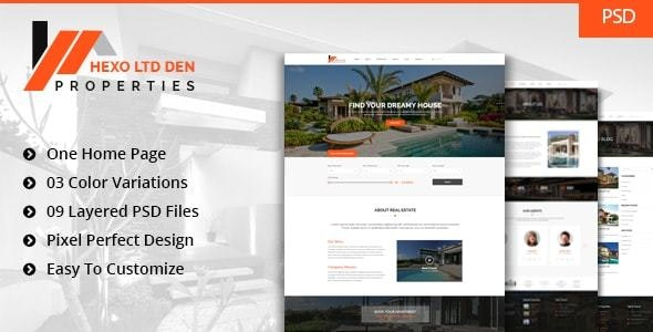 Hexo Properties - Real Estate Template - Corporate Photoshop