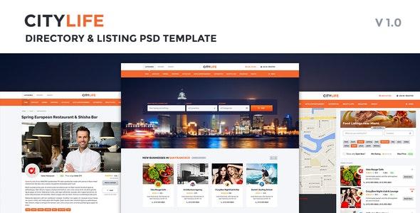 CityLife Directory & Listing PSD Template - Photoshop UI Templates