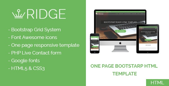 Ridge - One Page Multipurpose Responsive Html Template - Business Corporate