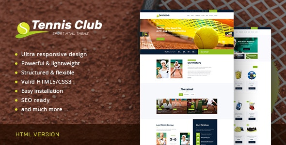 Tennis Club | Sports & Events Site Template - Entertainment Site Templates
