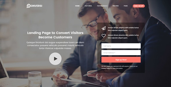 Conversi Professional Conversion Landing Page - Marketing Corporate