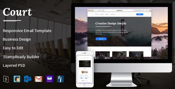 Court - Responsive Email Template + StampReady Builder - Email Templates Marketing