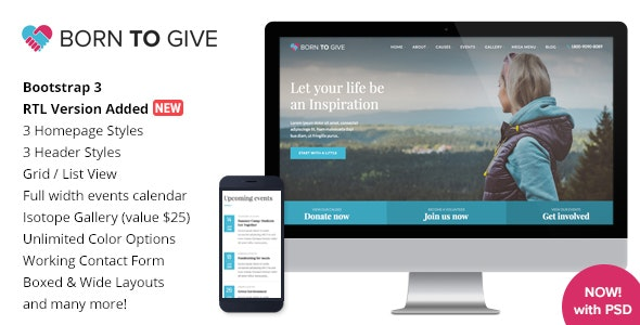 Born To Give - Charity Crowdfunding Responsive HTML5 Template - Charity Nonprofit