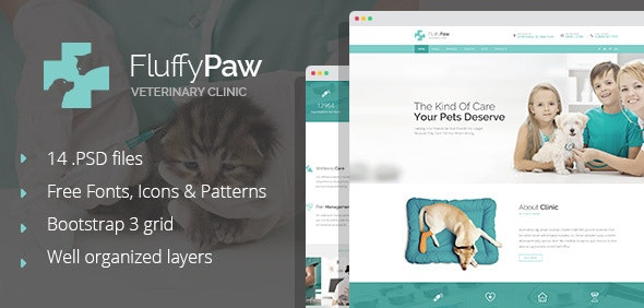 FluffyPaw - modern pet care and veterinary PSD Template - Health & Beauty Retail