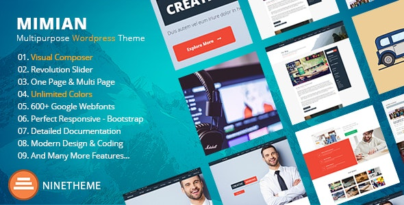 Onepage Corporate WordPress Theme with Page Builder| Mimian - Business Corporate