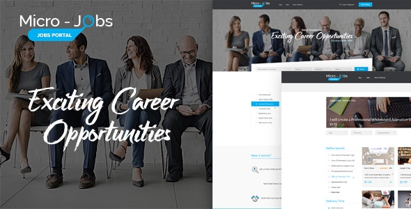 Micro Jobs - Search Portal PSD Template - Business Corporate