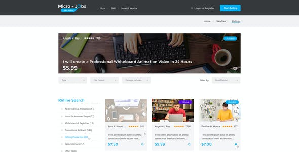Micro Jobs - Search Portal PSD Template