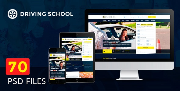 Driving school – 54 Responsive PSD Templates - Business Corporate