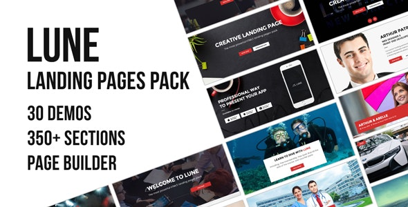 LUNE HTML5 Landing Pages Pack with Page Builder - Landing Pages Marketing