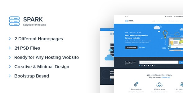 Spark – Hosting and Technology PSD Template - Technology Photoshop