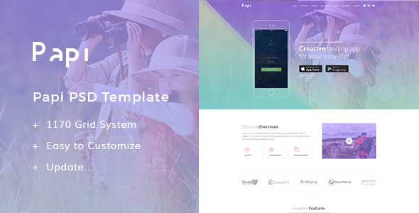 Papi App PSD Templates - Technology Photoshop