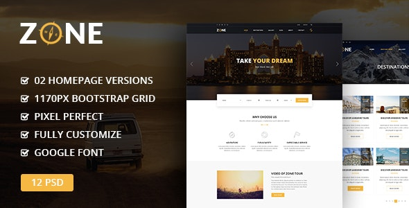 Zone - Tours and Travel PSD Template - Travel Retail