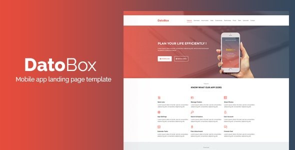 DatoBox || Mobile App Landing Page Template - PSD Templates