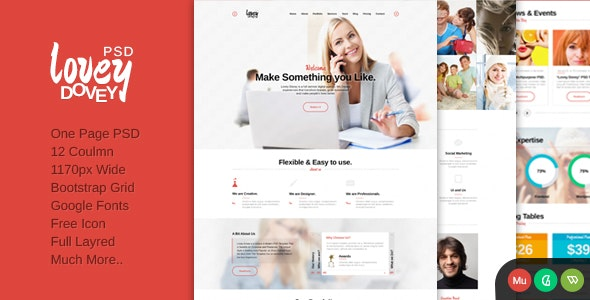 Lovey Dovey One Page PSD Template - Portfolio Creative