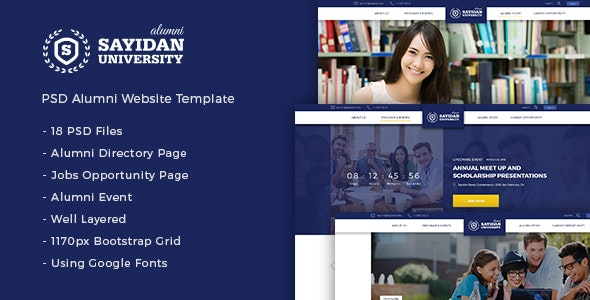 Sayidan - University Alumni PSD Template - Nonprofit Photoshop