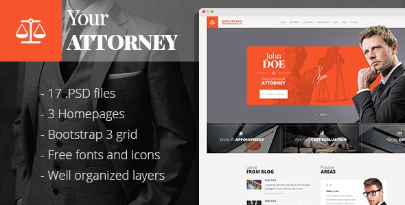 Attorneys - PSD template for law business - Business Corporate