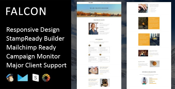 Falcon - Multipurpose Responsive Email Template + Stampready Builder - Email Templates Marketing