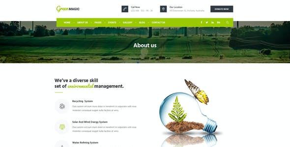 Green Magic : Environmental PSD Template