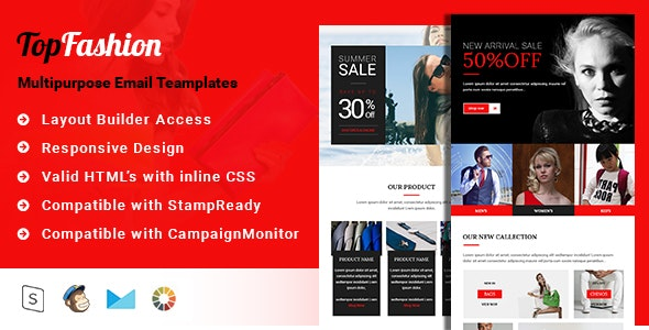 TopFashion-Multipurpose Email Template + Stampready builder - Email Templates Marketing