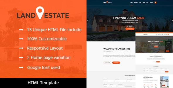 Land Estate - Real Estate/Properties HTML Template - Business Corporate