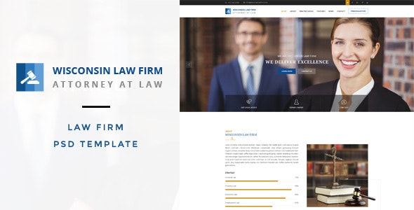 Wisconsin : Law Firm PSD Template - Business Corporate