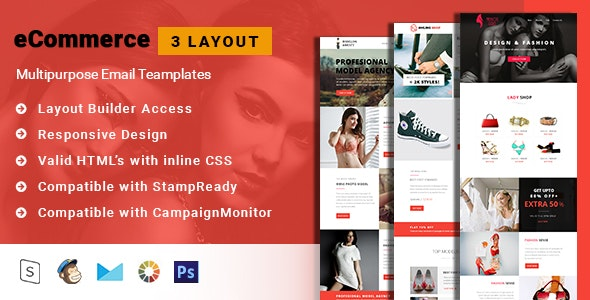 Multipurpose eCommerce Email Template + Stampready builder - Email Templates Marketing