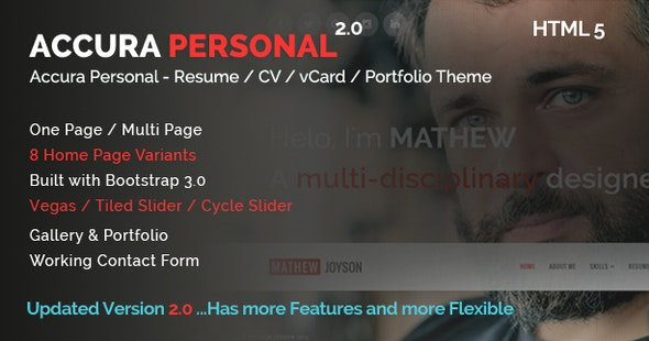 Accura Personal - Resume CV vCard Portfolio Theme - Resume / CV Specialty Pages