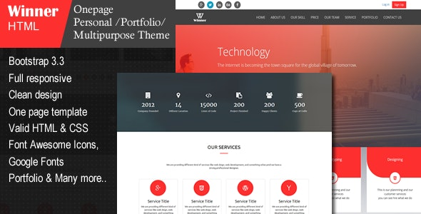 Winner - Creative Multi-Purpose HTML Template - Site Templates