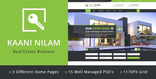 Kaani Nilam - Real Estate PSD Template - Business Corporate