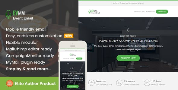 Event, Responsive Email Template + Builder Access