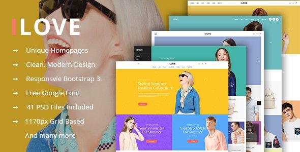 iLove - Creative Online Fashion PSD Template - Retail PSD Templates