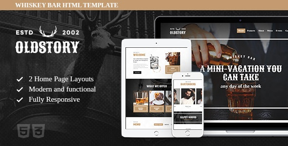 OldStory - Whisky Bar | Pub | Restaurant Site Template - Restaurants & Cafes Entertainment