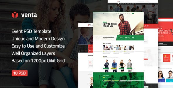 Venta — Event & Conference, Blog, Business PSD Template