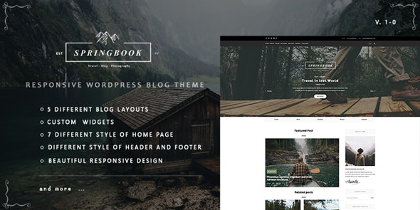Springbook - Responsive WordPress Blog Travel Photography Theme - Personal Blog / Magazine