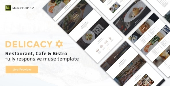 Delicacy - Bistro, Cafe and Restaurant Responsive Muse Template - Miscellaneous Muse Templates