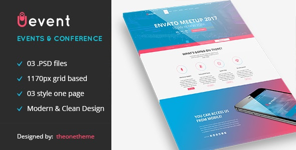 Uevent - One page Event Management PSD Template - Events Entertainment