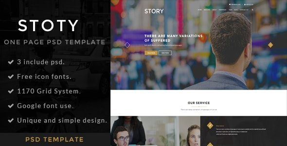 Story | One page PSD Template - Portfolio Creative