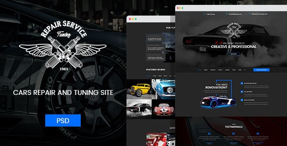 Mechanic - Car Repair and Routine Maintenance PSD Template - Business Corporate