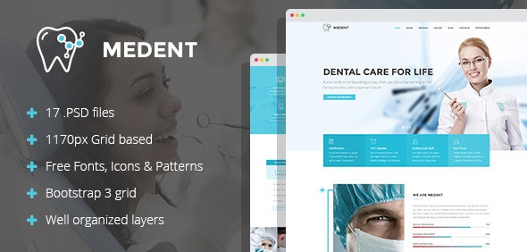 Medent - dental clinic PSD template - Business Corporate