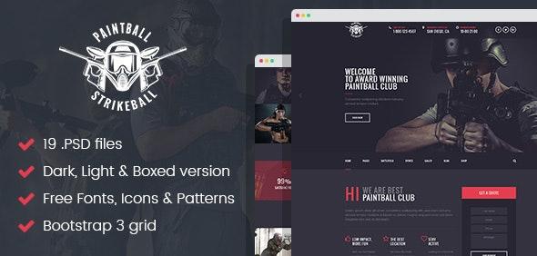 Paintball & Strikeball Club - Premium PSD template - Corporate Photoshop