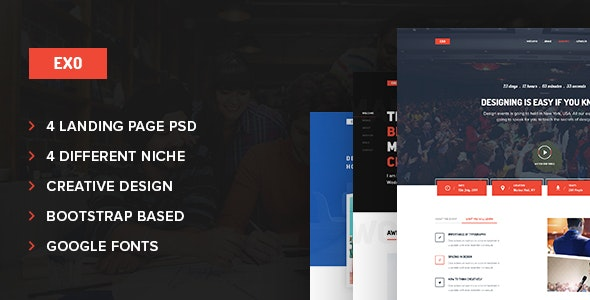 Exo 4 in 1 Multipurpose Landing Page PSD Template - Corporate Photoshop