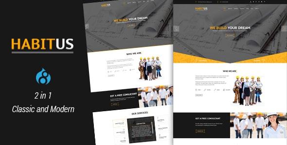 Habitus - 2 in 1 Construction Drupal 8.8 Responsive Theme - Business Corporate