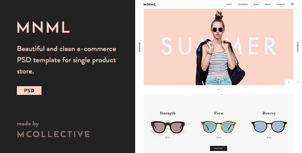 Mnml - Sunglasses and Single Product Store PSD Template - Retail Photoshop