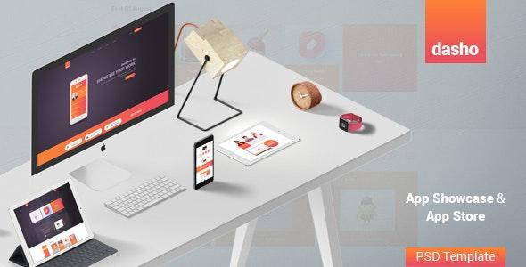 Dasho - App Showcase & App Store PSD Template - Marketing Corporate