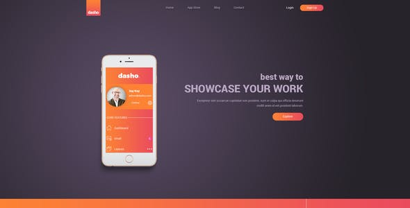 Dasho - App Showcase & App Store PSD Template