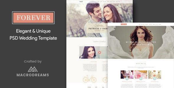 Forever | Wedding PSD Template - Entertainment PSD Templates
